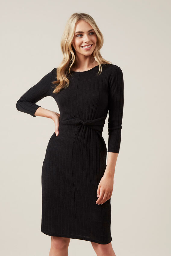 TIE FRONT JERSEY MIDI DRESS  BLACK  hi-res