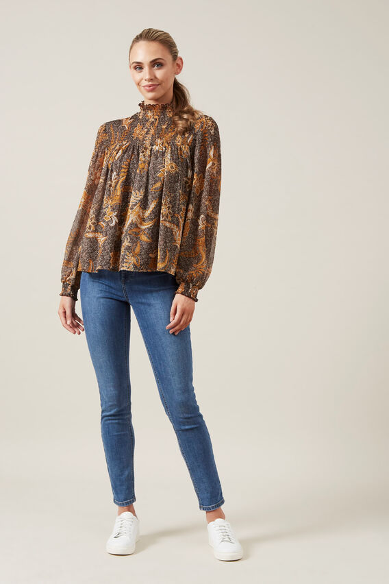 HIGH NECK SHIRRED BLOUSE  MULTI  hi-res