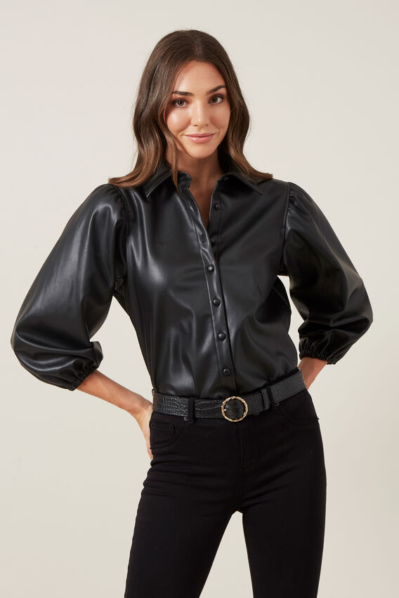 VEGAN LEATHER PUFF SLEEVE SHIRT  BLACK  hi-res