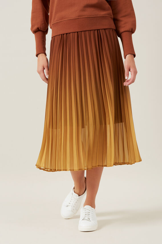 OMBRE PLEATED MIDI SKIRT  MULTI  hi-res