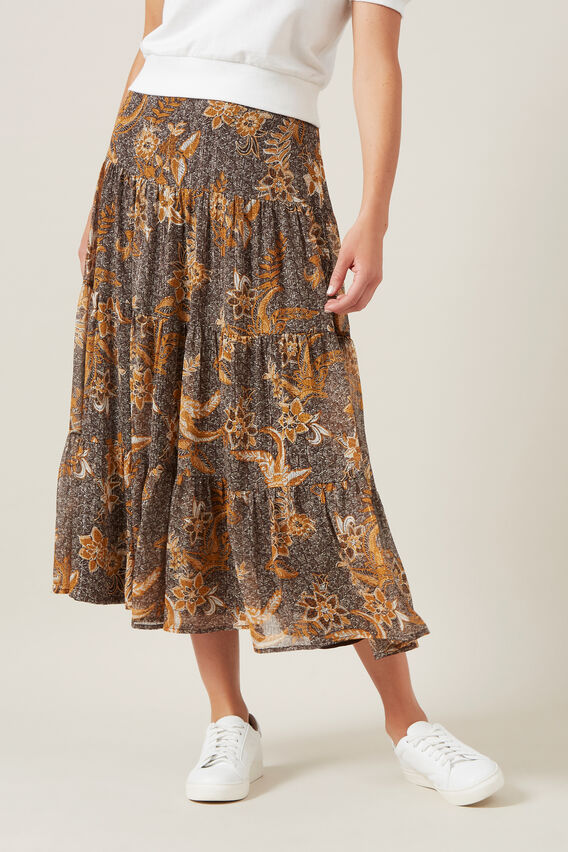 TIERED MIDI SKIRT  MULTI  hi-res