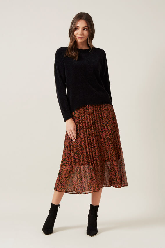 ANIMAL PLEATED SKIRT  RUST/ANIMAL  hi-res