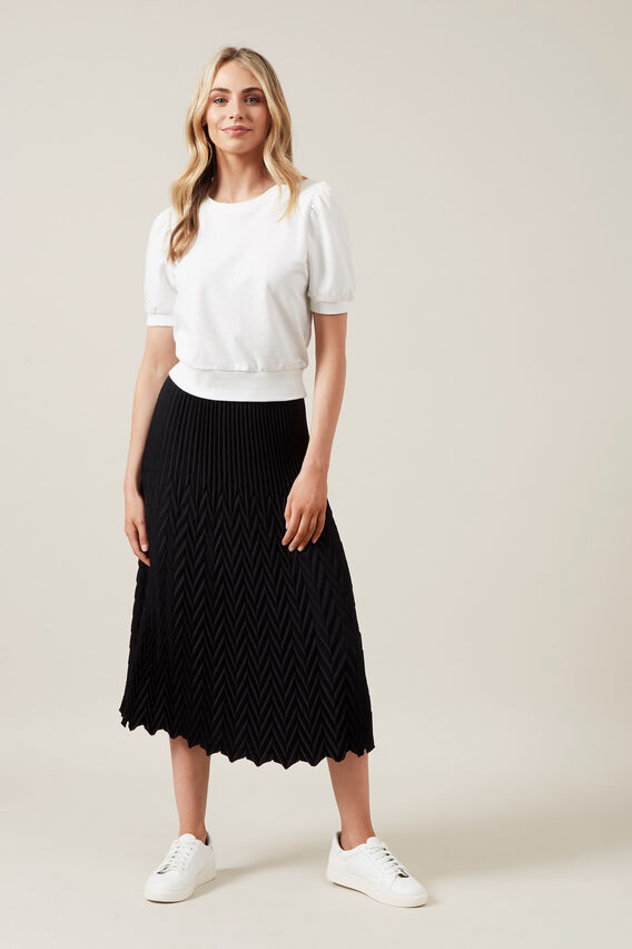 CHEVRON MIDI SKIRT  BLACK  hi-res