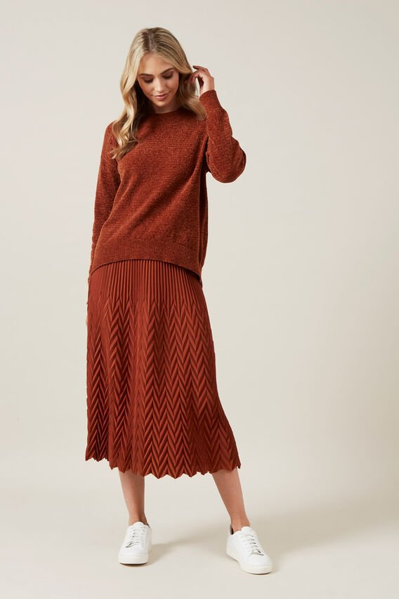 CHEVRON MIDI SKIRT  RUST  hi-res