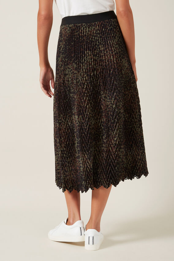 CHEVRON MIDI SKIRT  KHAKI ANIMAL  hi-res