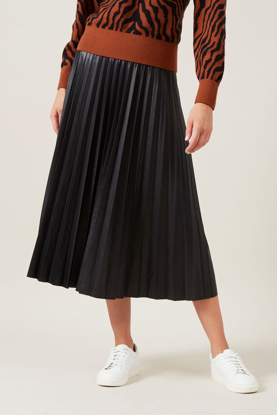 LEATHER LOOK PLEATED MIDI SKIRT  BLACK  hi-res
