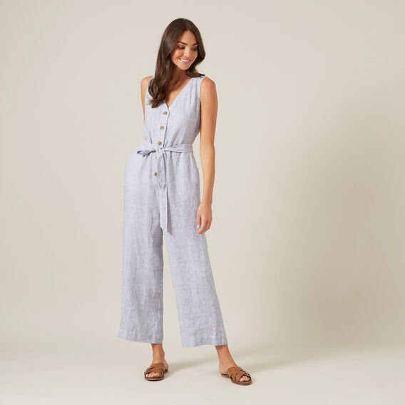 STRIPE LINEN JUMPSUIT  WHITE/NAVY  hi-res