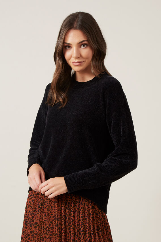 LIGHT CHENILLE JUMPER  BLACK  hi-res