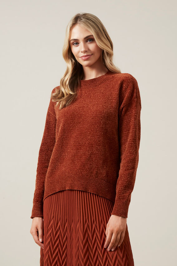LIGHT CHENILLE JUMPER  RUST  hi-res