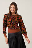 TIGER KNIT, RUST/BLACK, hi-res