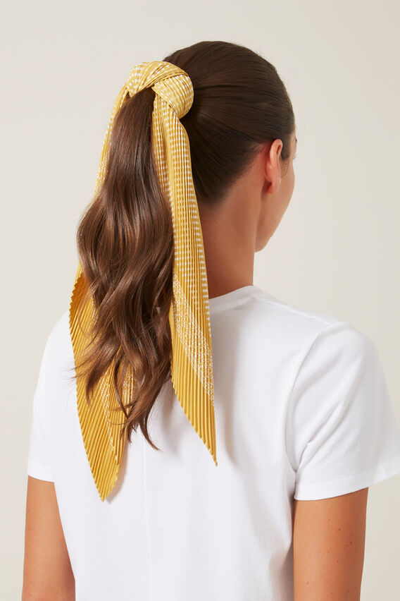 SPOT PLEATED SCARF   YELLOW/WHITE  hi-res