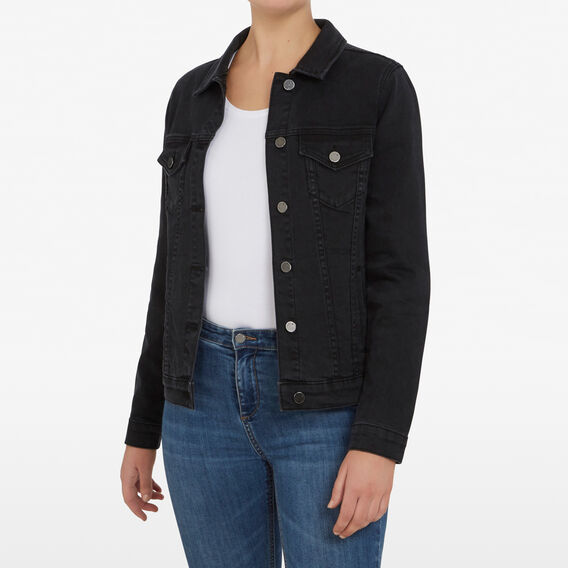 STRETCH DENIM JACKET  WASHED BLACK  hi-res