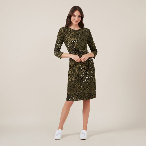 ANIMAL JERSEY MIDI DRESS  KHAKI  hi-res