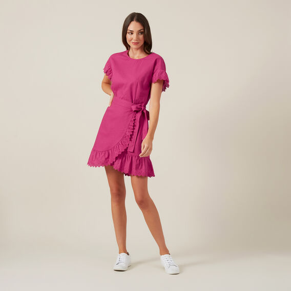 LINEN WRAP DRESS  PINK  hi-res
