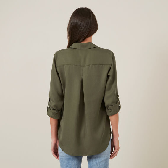 NEO BUTTON THROUGH SHIRT  KHAKI  hi-res