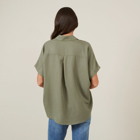 CROSS OVER FRONT S/S SHIRT  KHAKI  hi-res