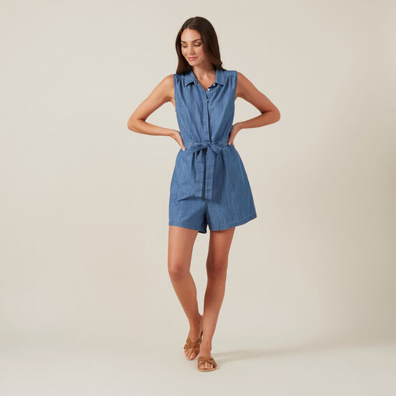 CHAMBRAY PLAYSUIT  BLUE  hi-res