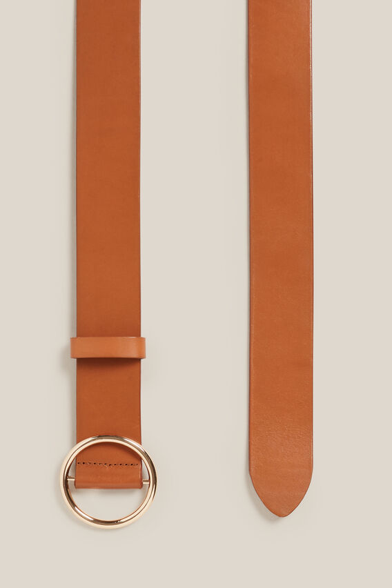 CIRCLE LEATHER BELT  TAN  hi-res