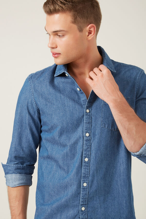 DENIM REGULAR FIT SHIRT  MID INDIGO  hi-res