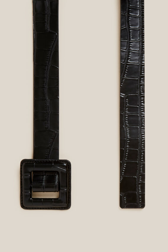 TONAL EMBOSSED BELT   BLACK  hi-res