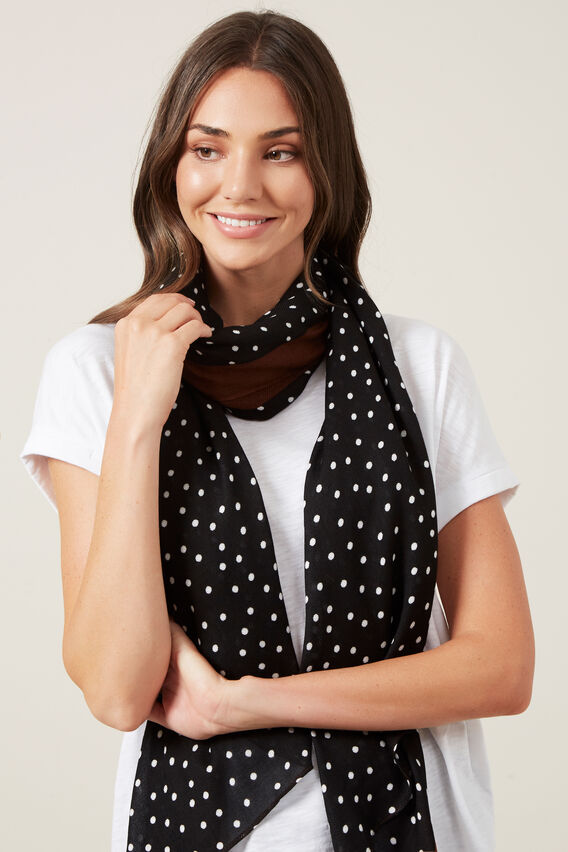 SPOT SCARF  RUST/BLACK  hi-res