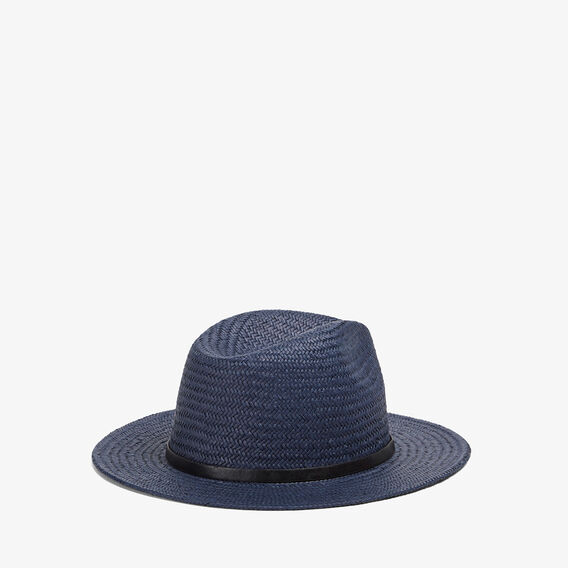 WIDE BRIM STRAW HAT  INK BLUE  hi-res