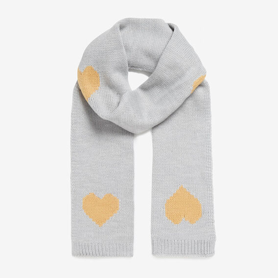 KNITTED HEART SCARF  GREY/YELLOW  hi-res