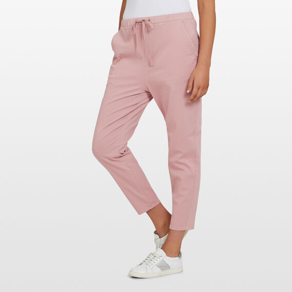 PULL ON STRETCH COTTON PANT  DUSTY PINK  hi-res
