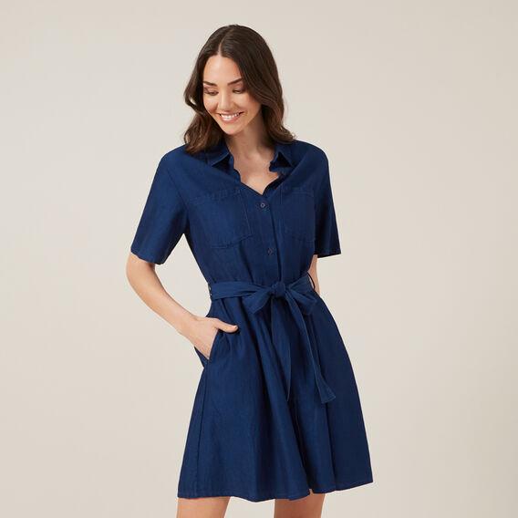 BUTTON THROUGH SHIRT DRESS  DARK MID INDIGO  hi-res