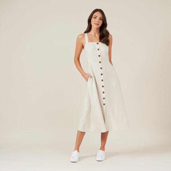LINEN PINAFORE DRESS  OATMEAL  hi-res