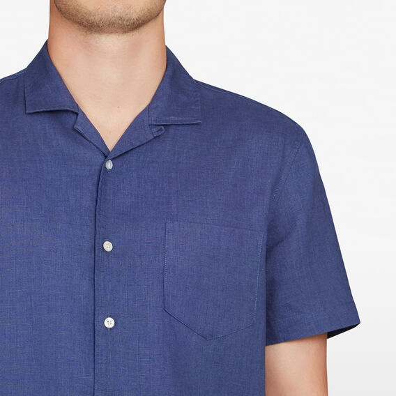 CAMP COLLAR LINEN CLASSIC FIT SHIRT  INDIGO  hi-res