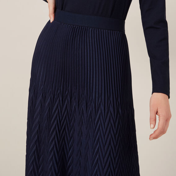 CHEVRON PLEATED SKIRT  NAVY  hi-res