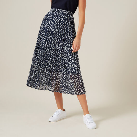 FLORAL PLEATED MIDI SKIRT  NAVY/FLORAL  hi-res