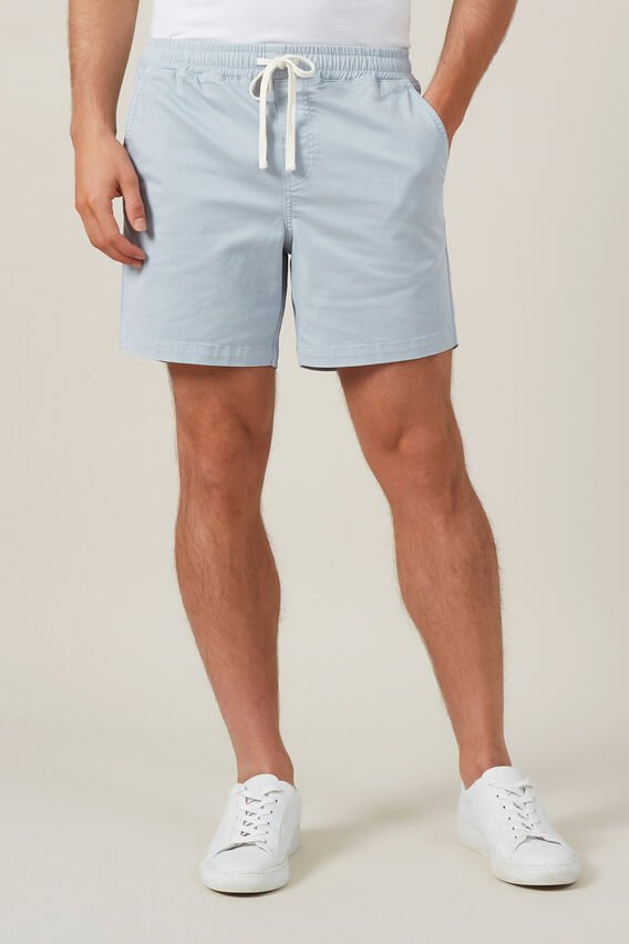 COTTON PULL ON SHORT  DUSTY BLUE  hi-res