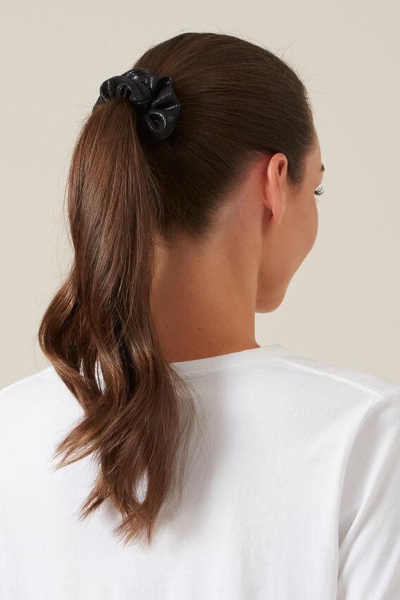 METALLIC HAIR SCRUNCHIES SET  BLACK/PEACH  hi-res