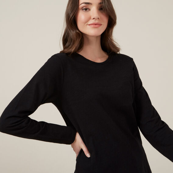 ESSENTIAL LONGSLEEVE CREW NECK  BLACK  hi-res