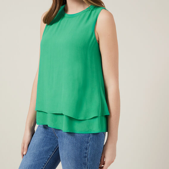 SLEEVELESS DOUBLE LAYER TOP  SPRING GREEN  hi-res