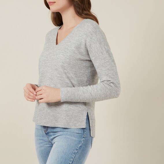 V-NECK VHARI KNIT  GREY MARL  hi-res