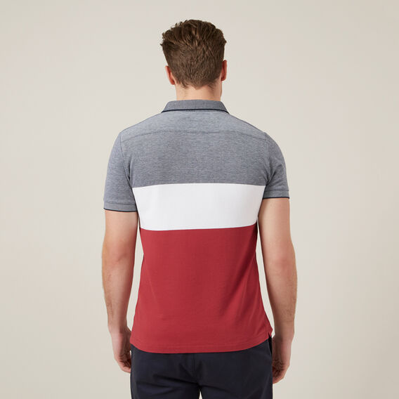 BLOCK STRIPE POLO  BERRY/WHITE/MARINE  hi-res