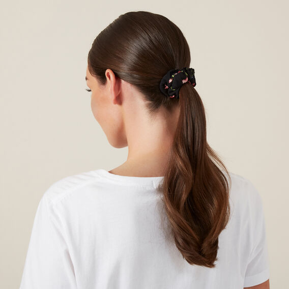 FLORAL HAIR SCRUNCHIE  FLORAL/BLACK  hi-res