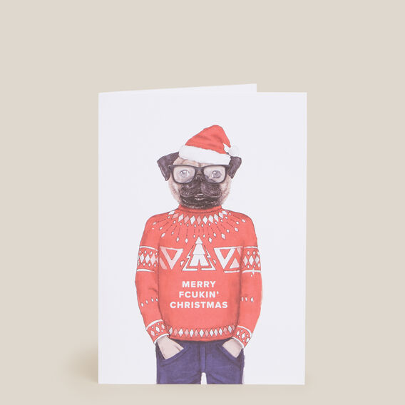 CHRISTMAS DOG CARD  WHITE  hi-res