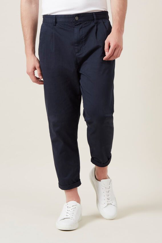 PLEATED STRETCH CHINO  MIDNIGHT  hi-res