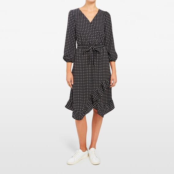 SPOT WRAP DRESS  BLACK/SUMMER WHITE  hi-res