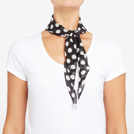 SPOTTED BORDER NECKERCHIEF  SUMMER WHITE/BLACK  hi-res