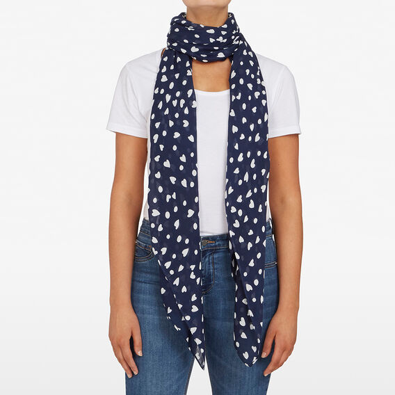 MULTI HEART WOVEN SCARF  NAVY  hi-res