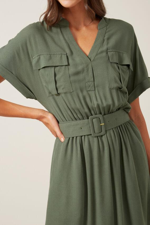 UTILITY SHIRT DRESS  KHAKI  hi-res