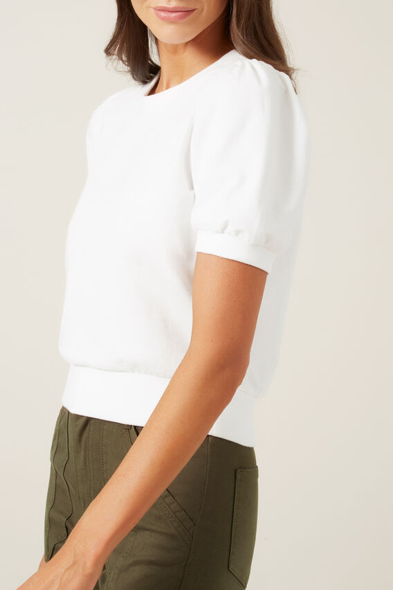 CROPPED PUFF SLEEVE SWEAT  WHITE  hi-res