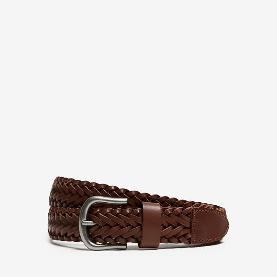 LEATHER PLAITED BELT  CHOCOLATE  hi-res