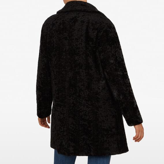 TEXTURED FAUX FUR COAT  BLACK  hi-res