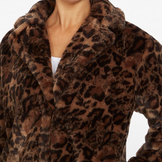 FAUX FUR ANIMAL COAT  CAMEL/MULTI  hi-res